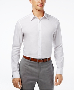 Alfani - Fitted Solid Performance French Cuff Shirt