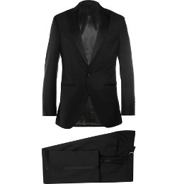 Hackett   - Satin-trimmed Wool And Mohair-blend Tuxedo Jacket