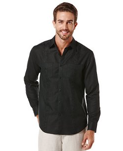 Cubavera - Embroidered Panel Linen-Blend Shirt