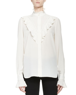 Stella McCartney - Ruffle-Trim Crepe de Chine Blouse