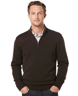 Perry Ellis  - Quarter-Zip Mock-Neck Sweater