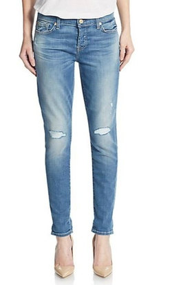 7 For All Mankind  - Josefina Distressed Skinny Boyfriend Jeans