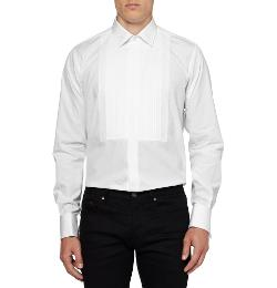 Saint Laurent - White Bib-front Cotton Tuxedo Shirt