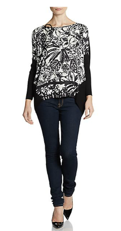 Lafayette 148 New York  - Silk Print-Front Top