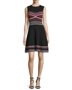 Shoshanna  - Sleeveless Multi-Striped Fit-And-Flare Dress