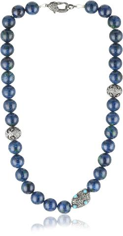 "Jordan Alexander  - 16"" Chrysolite with Turquoise and Diamond Bead Necklace"