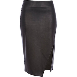 River Island - Black Leather-look Wrap Pencil Skirt