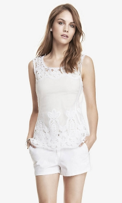 Express - Crochet Baroque Lace Tank Top