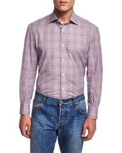 Isaia  - Plaid Woven Sport Shirt