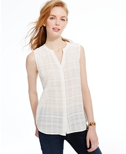 Tommy Hilfiger  - Cotton Gauze Pintucked Semi-Sheer Top