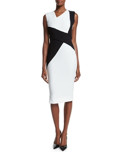 Victoria Beckham - Sleeveless Asymmetric Colorblock Sheath Dress