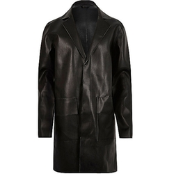 River Island - Leather-Look Overcoat