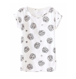 Enlishop - Rose Floral Casual Tee Shirt