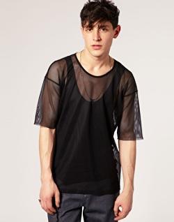 Asos -  Black Mesh Scoop Neck T-Shirt