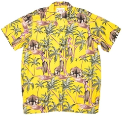 On Shore  - Tropical Hawaiian Hula Dancer Print Aloha Shirt