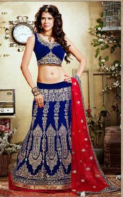 Salwar Kameez - BLUE & RED VELVET LATEST LEHENGA