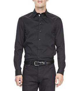 Armani Collezioni   - Poplin Grosgrain-Placket Dress Shirt, Black