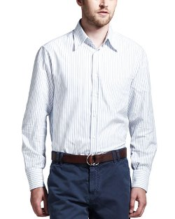 Brunello Cucinelli   - Striped Oxford Button-Down Shirt