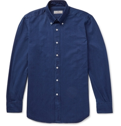 Canali - Slim-Fit Button-Down Collar Cotton-Blend Twill Shirt