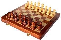 Dealtz - Collectible Wooden Folding Chess Game Board Set+Wooden Magnetic Crafted Pieces