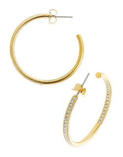 Nadri  - Crystal Studded Hoop Earrings