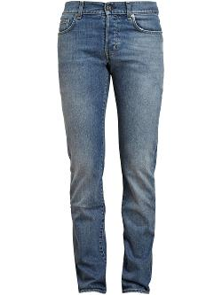 Saint Laurent  - Washed Straight Leg Denim Jeans