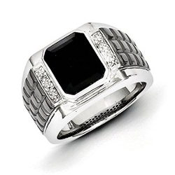 Forever Flawless Jewelry - Sterling Silver Diamond & Onyx Square Black Rhodium-plated