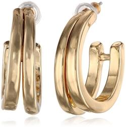 Napier - Gold Tone C Hoop Earrings
