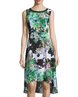 P. Luca - Floral-Print High-Low Chiffon Dress