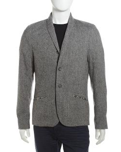 Cohesive  - Salt and Pepper Stud-Trim Jacket