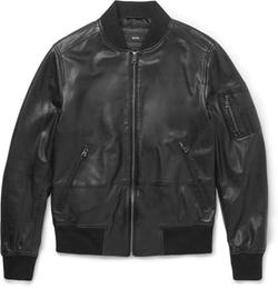 Hugo Boss  - Slim-Fit Leather Bomber Jacket