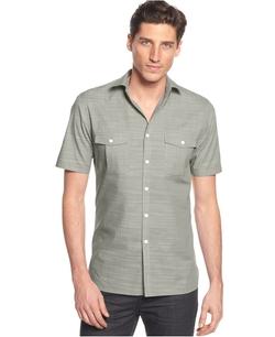Alfani Black - Warren Solid Short Sleeve Textured Shirt