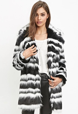 Forever 21 - Striped Faux Fur Coat