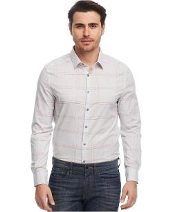 Kenneth Cole New York  - Linear Plaid Slim-Fit Shirt