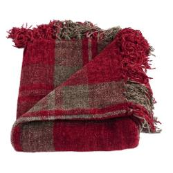 Michael Anthony Furniture - Joni Red Boucle Chenille Plaid Throw