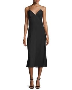 Milly - Sleeveless V-Neck Midi Dress