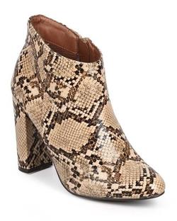 Breckelles  - Women Snakeskin Almond Ankle Bootie