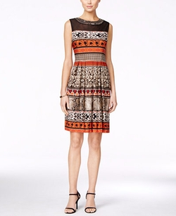 Sandra Darren - Embellished Illusion Printed Dress