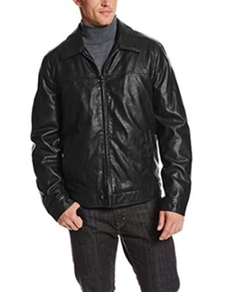 Tommy Hilfiger - Leather Zip-Front Jacket