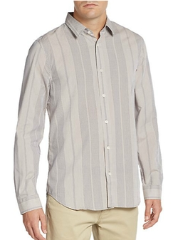 7 For All Mankind  - Vertical Stripe Cotton Sportshirt