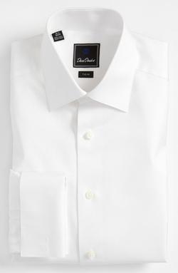 David Donahue - Tonal Solid Trim Fit Tuxedo Shirt