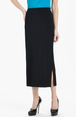 Ming Wang  - Side Slit Knit Midi Skirt
