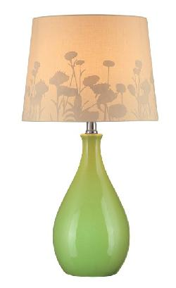 Lite Source ade - Table Lamp, Green Ceramic with Silhouette Paper Shade