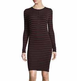 ATM - Long-Sleeve Striped Henley Jersey Dress