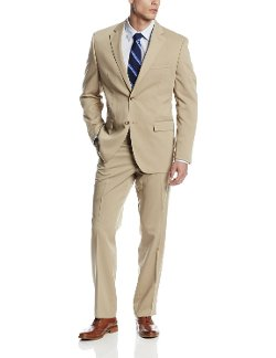 Perry Ellis - Tan Solid Two-Button Suit