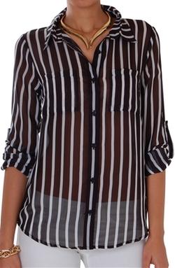 Humble Chic New York - Vertical Stripe Chiffon Blouse