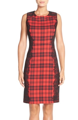 Chetta B - Plaid & Lace Sheath Dress