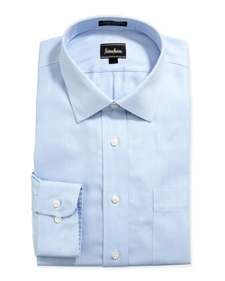 Neiman Marcus - Classic-Fit Non-Iron Herringbone Dress Shirt