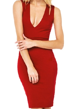 Romwe - Deep V Neck Bodycon Dress