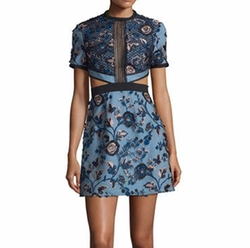 Self-Portrait - Florence Floral-Embroidered Cutout Dress
